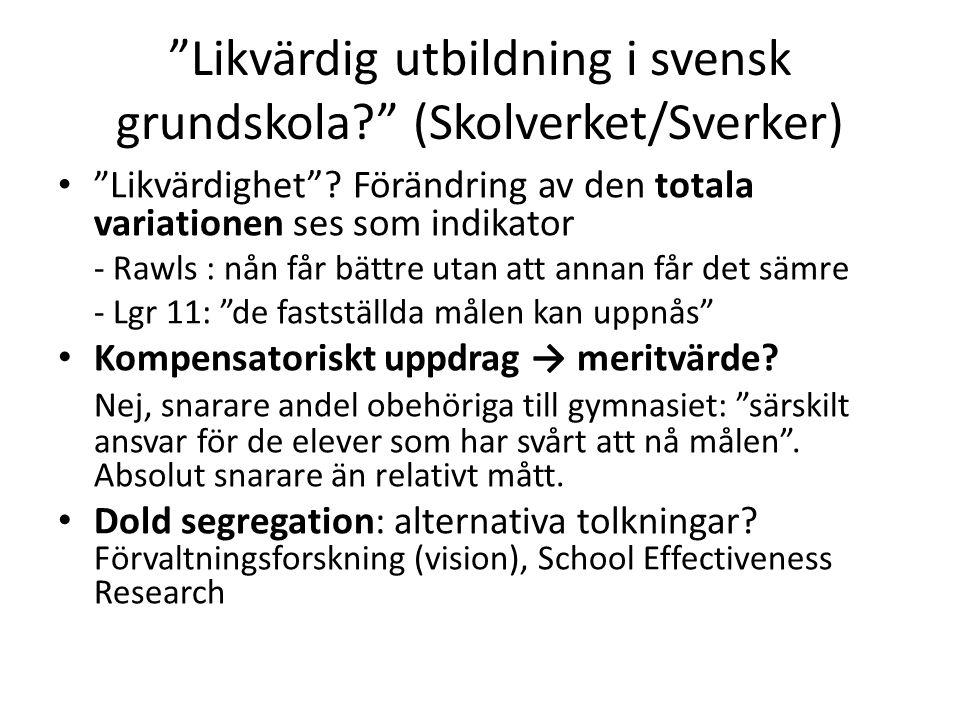 """""""Likvärdig utbildning i svensk grundskola?"""" (Skolverket/Sverker) • """" Likvärdighet""""? Förändring av den totala variationen ses som indikator - Rawls : n"""