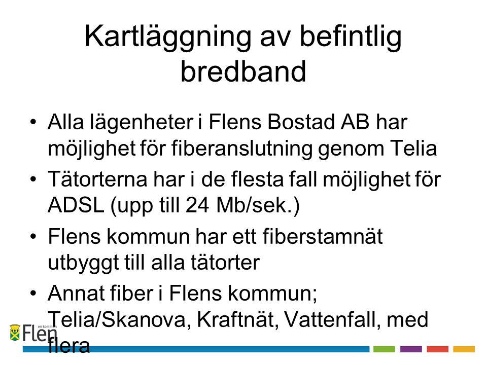 Kartläggning av befintlig bredband •Alla lägenheter i Flens Bostad AB har möjlighet för fiberanslutning genom Telia •Tätorterna har i de flesta fall m