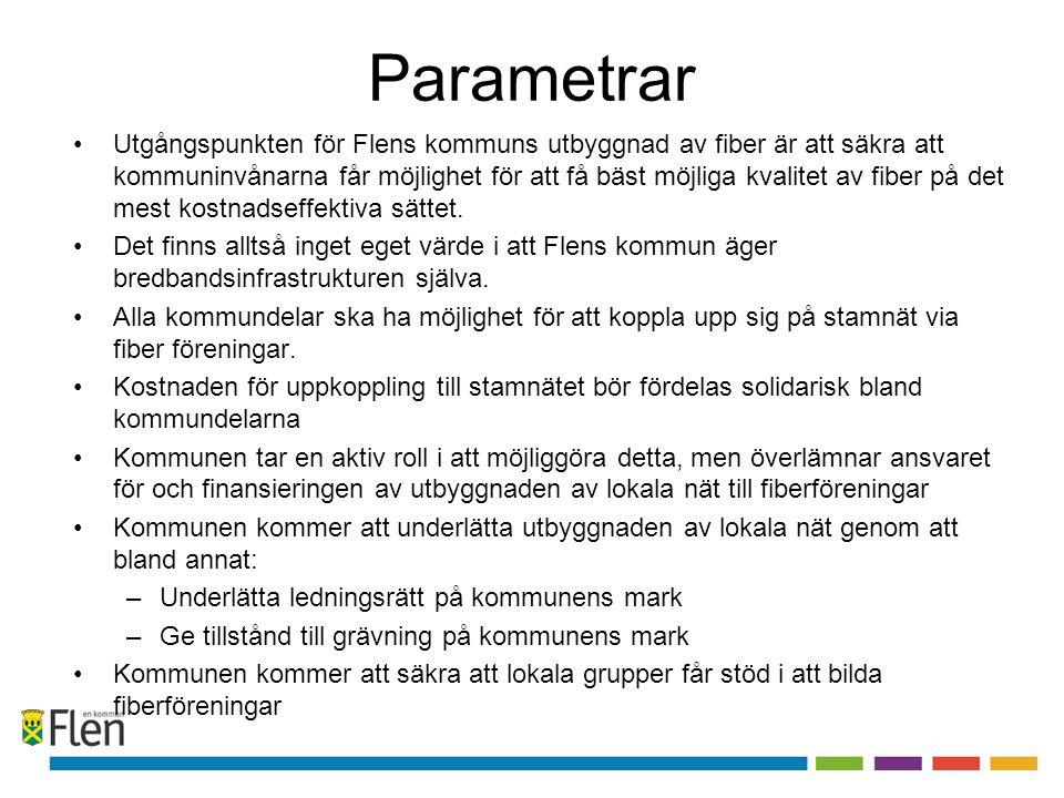 Parametrar •Utgångspunkten för Flens kommuns utbyggnad av fiber är att säkra att kommuninvånarna får möjlighet för att få bäst möjliga kvalitet av fib