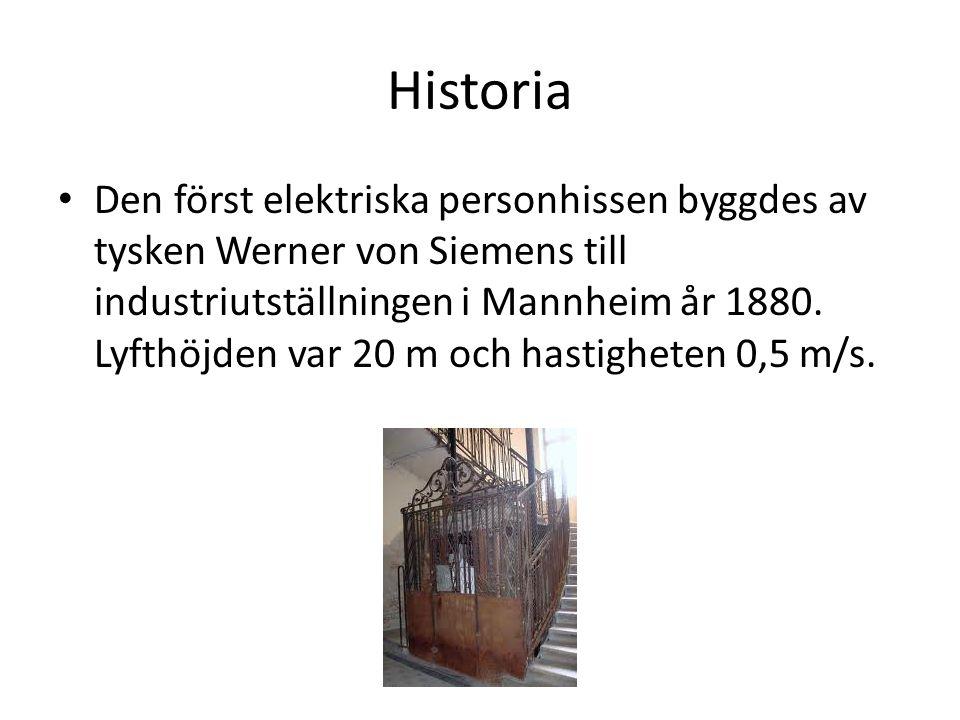 Historia • Den först elektriska personhissen byggdes av tysken Werner von Siemens till industriutställningen i Mannheim år 1880. Lyfthöjden var 20 m o