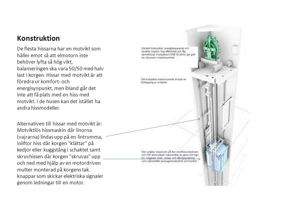 Konstruktion De flesta hissarna har en motvikt som håller emot så att elmotorn inte behöver lyfta så hög vikt, balanseringen ska vara 50/50 med halv l