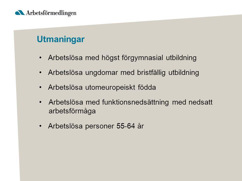 Utmaningar •Arbetslösa med högst förgymnasial utbildning •Arbetslösa ungdomar med bristfällig utbildning •Arbetslösa utomeuropeiskt födda •Arbetslösa med funktionsnedsättning med nedsatt arbetsförmåga •Arbetslösa personer 55-64 år