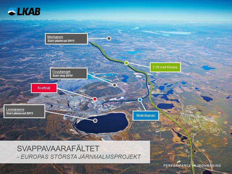Sv E10 mot Kiruna Mertainen Start planerad 2015 Malmbanan Gruvberget Start maj 2010 Leveäniemi Start planerad 2015 Kraftnät SVAPPAVAARAFÄLTET - EUROPA