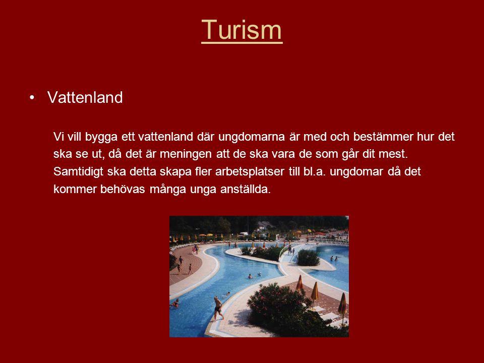 Turism •Vattenland Vi vill bygga ett vattenland där ungdomarna är med och bestämmer hur det ska se ut, då det är meningen att de ska vara de som går dit mest.