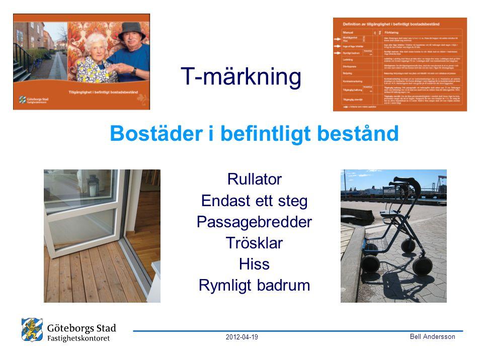 2012-04-19 Bell Andersson T-märkning Bostäder i befintligt bestånd Rullator Endast ett steg Passagebredder Trösklar Hiss Rymligt badrum