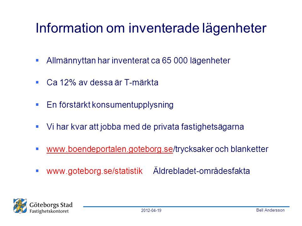 2012-04-19 Bell Andersson Information om inventerade lägenheter  Allmännyttan har inventerat ca 65 000 lägenheter  Ca 12% av dessa är T-märkta  En