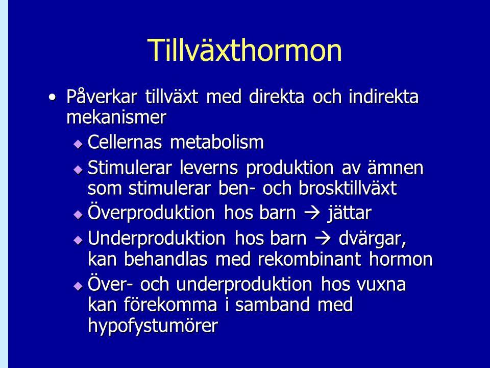 Tillväxthormon •Påverkar tillväxt med direkta och indirekta mekanismer  Cellernas metabolism  Stimulerar leverns produktion av ämnen som stimulerar
