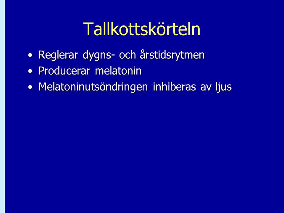 Tallkottskörteln •Reglerar dygns- och årstidsrytmen •Producerar melatonin •Melatoninutsöndringen inhiberas av ljus