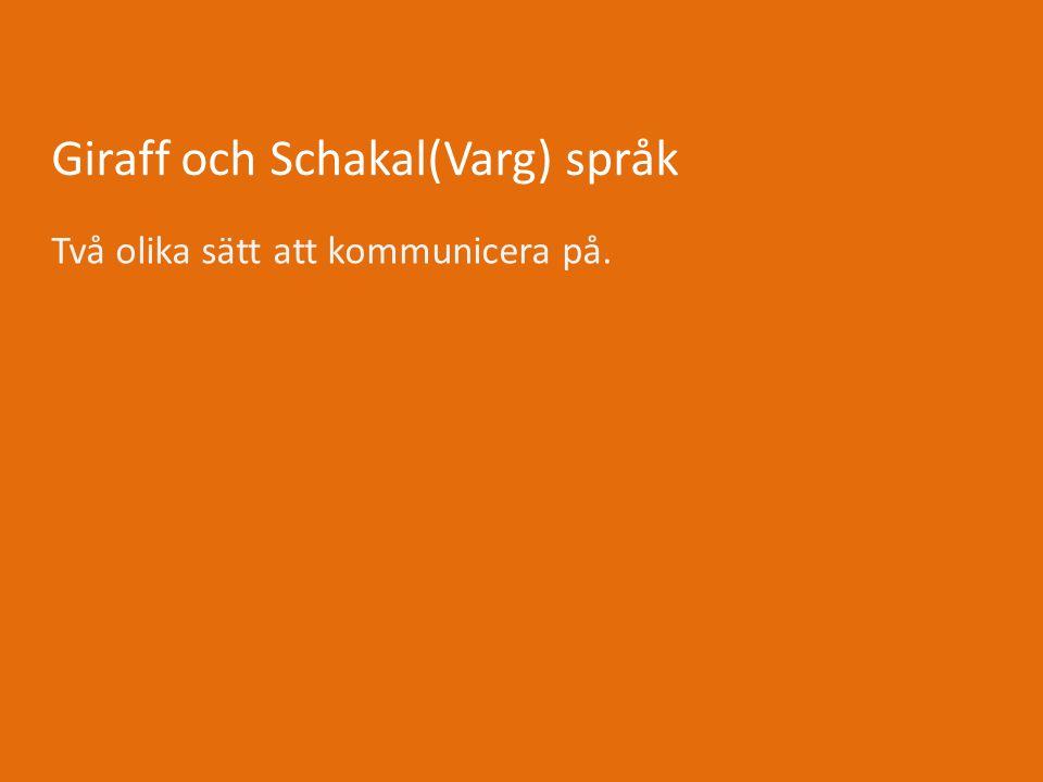 Giraff och Schakal(Varg) språk Två olika sätt att kommunicera på.