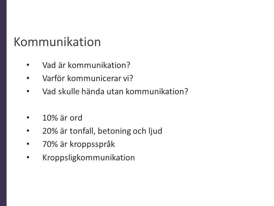 • Vad är kommunikation? • Varför kommunicerar vi? • Vad skulle hända utan kommunikation? • 10% är ord • 20% är tonfall, betoning och ljud • 70% är kro