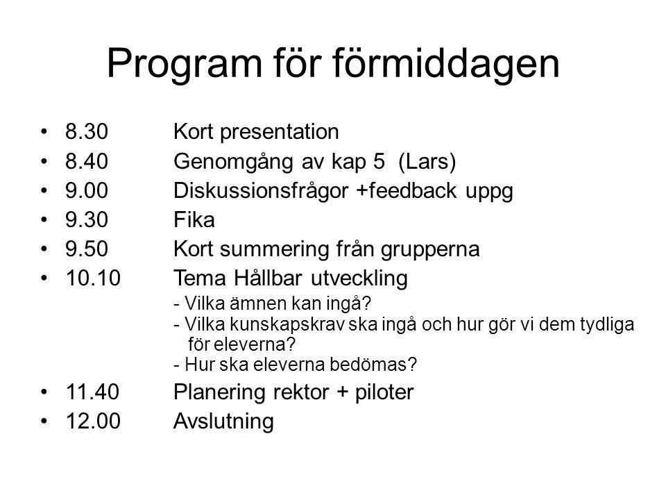 Program för förmiddagen •8.30Kort presentation •8.40Genomgång av kap 5 (Lars) •9.00Diskussionsfrågor +feedback uppg •9.30Fika •9.50Kort summering från