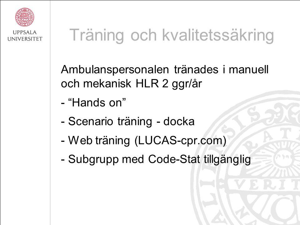 """Träning och kvalitetssäkring Ambulanspersonalen tränades i manuell och mekanisk HLR 2 ggr/år - """"Hands on"""" - Scenario träning - docka - Web träning (LU"""