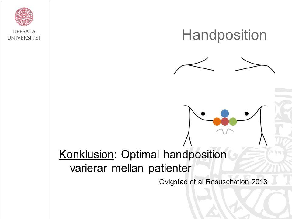 Handposition Konklusion: Optimal handposition varierar mellan patienter Qvigstad et al Resuscitation 2013