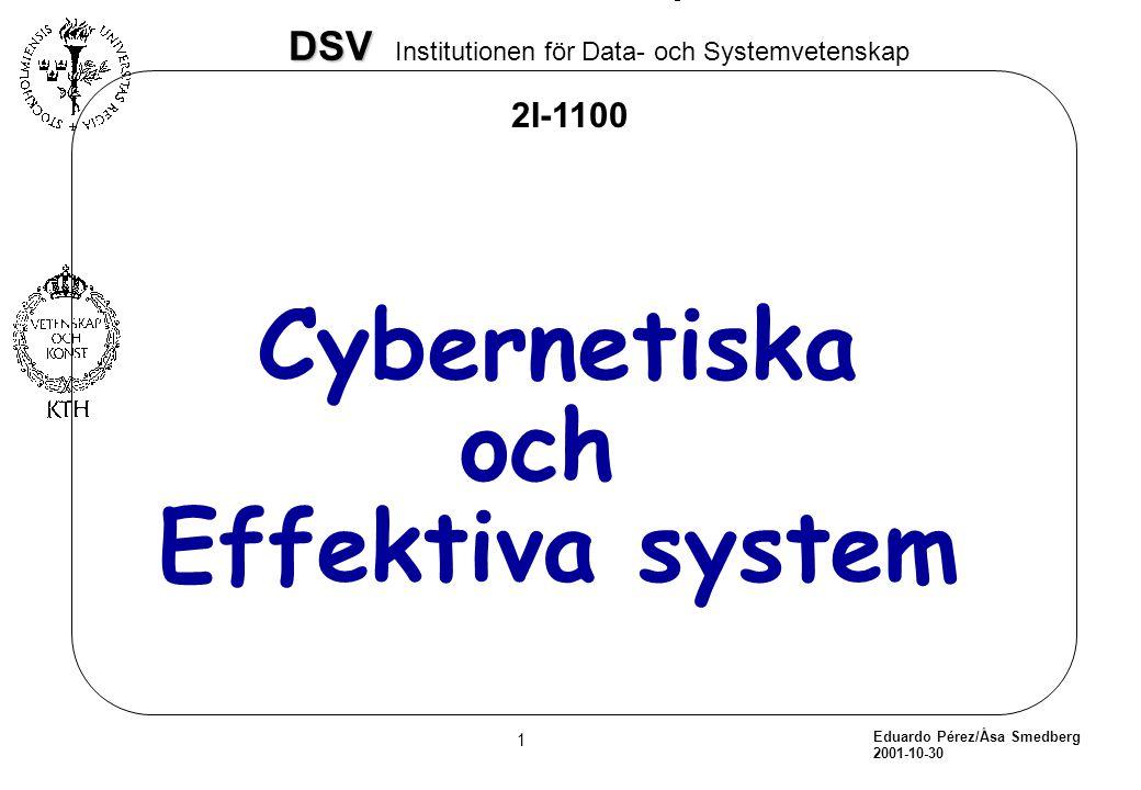 Eduardo Pérez/Åsa Smedberg 2001-10-30 2 DSV DSV Institutionen för Data- och Systemvetenskap àDefinition àManagement/kontroll och lagen om tillräcklig variation àBeers klassificering.