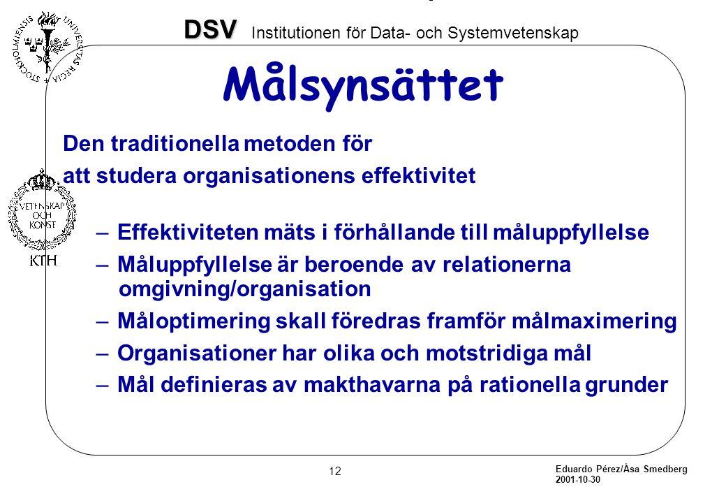 Eduardo Pérez/Åsa Smedberg 2001-10-30 12 DSV DSV Institutionen för Data- och Systemvetenskap Målsynsättet Den traditionella metoden för att studera or