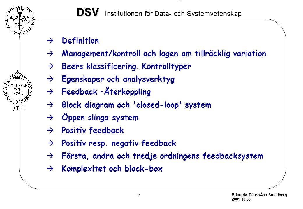 Eduardo Pérez/Åsa Smedberg 2001-10-30 23 DSV DSV Institutionen för Data- och Systemvetenskap Stabilitet i kontrollobjektet àMedan stabilitet är det långsiktiga målet av systemet, är kortfristiga instabila tillstånd nödvändiga för systemens anpassning och inlärning.