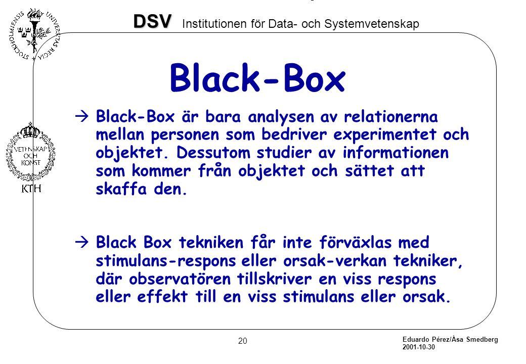 Eduardo Pérez/Åsa Smedberg 2001-10-30 20 DSV DSV Institutionen för Data- och Systemvetenskap Black-Box àBlack-Box är bara analysen av relationerna mel