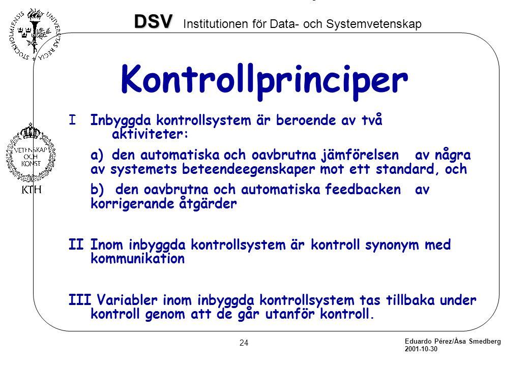 Eduardo Pérez/Åsa Smedberg 2001-10-30 24 DSV DSV Institutionen för Data- och Systemvetenskap Kontrollprinciper IInbyggda kontrollsystem är beroende av