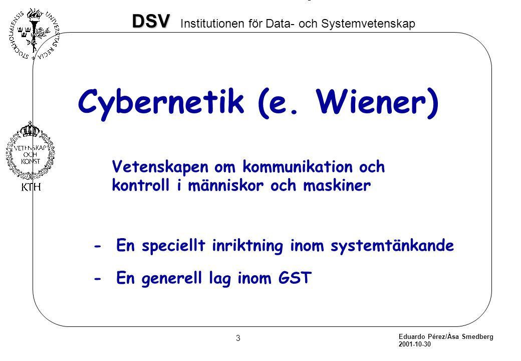 Eduardo Pérez/Åsa Smedberg 2001-10-30 3 DSV DSV Institutionen för Data- och Systemvetenskap Cybernetik (e. Wiener) Vetenskapen om kommunikation och ko