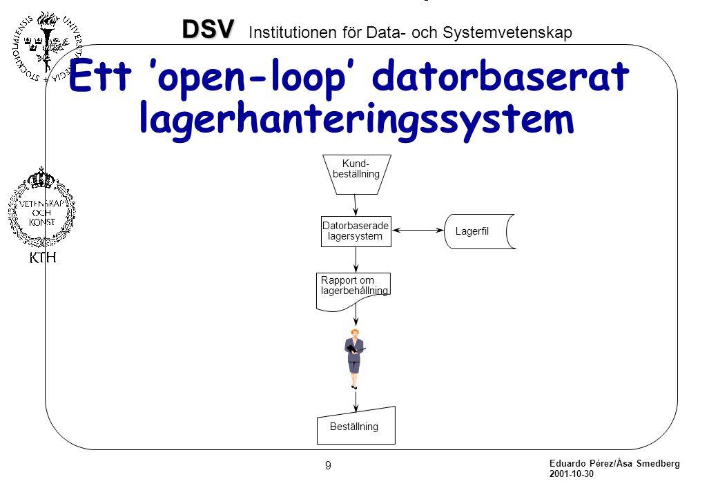 Eduardo Pérez/Åsa Smedberg 2001-10-30 10 DSV DSV Institutionen för Data- och Systemvetenskap Ett closed loop datorbaserat system Kund- beställning datorbaserat lagersystem Lagerfil YES NO Beställning Bearbeta kundens beställning
