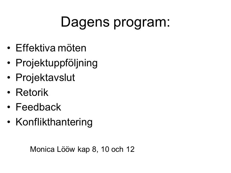 Dagens program: •Effektiva möten •Projektuppföljning •Projektavslut •Retorik •Feedback •Konflikthantering Monica Lööw kap 8, 10 och 12