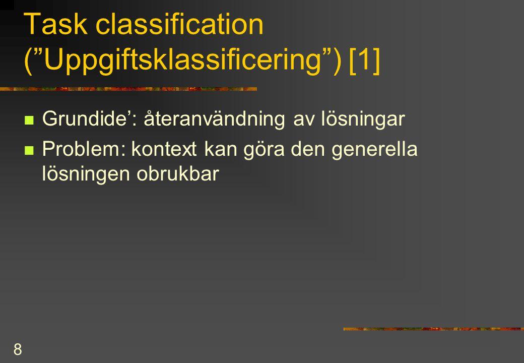 9 Task classification [2]  Exempel på uppgiftsklassificering: Förutsättningar för lärande enl Gagne et.
