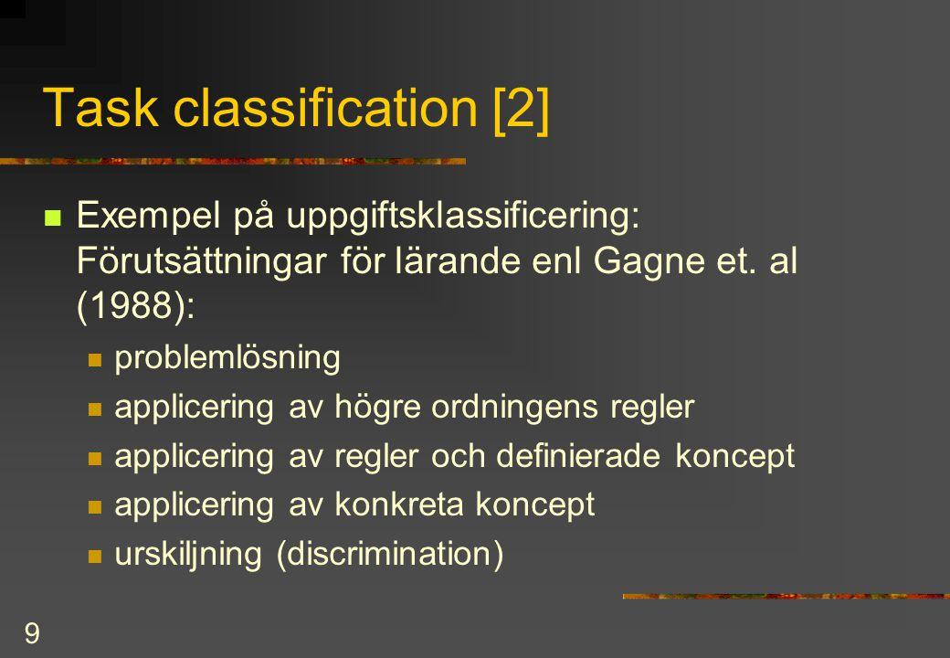 10 Task classification [3]  problemlösning  involverar skapandet av  högre ordningens regler  som förutsätter  regler och definierade koncept  som förutsätter  applicering av konkreta koncept  som förutsätter  urskiljning (discrimination) Hierarki.