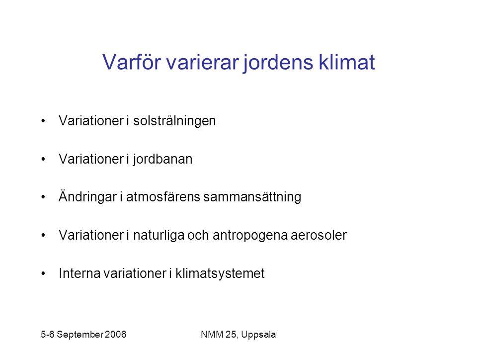 5-6 September 2006NMM 25, Uppsala Varför varierar jordens klimat •Variationer i solstrålningen •Variationer i jordbanan •Ändringar i atmosfärens samma