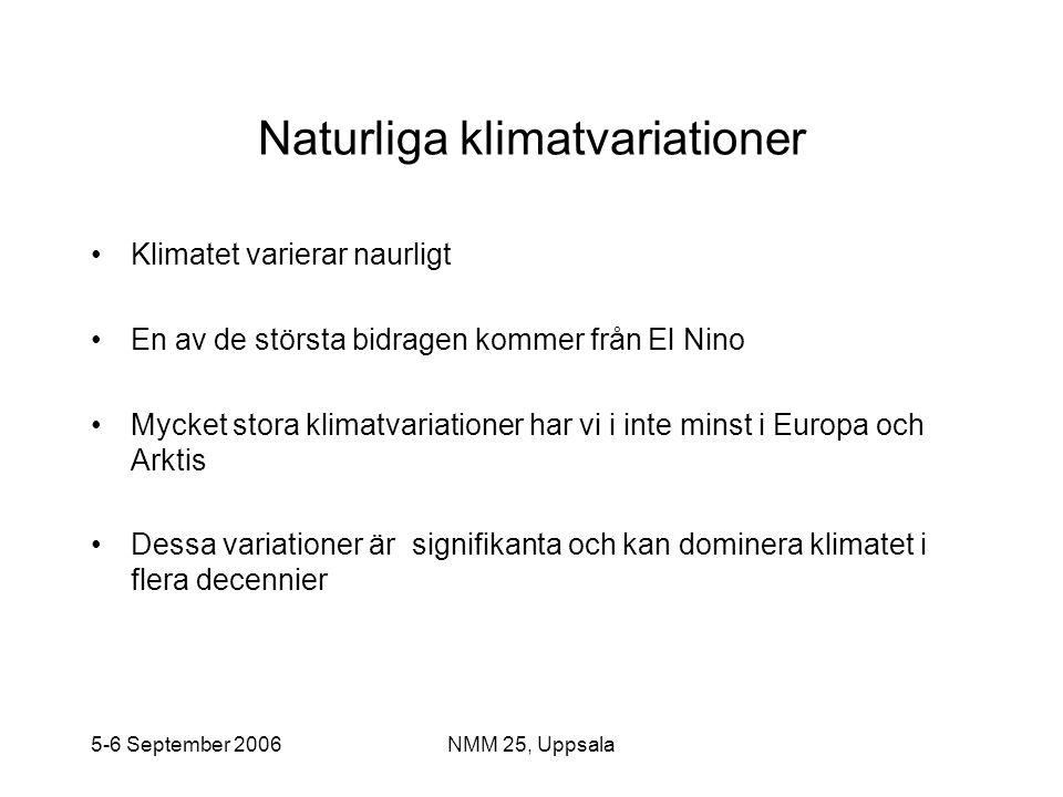 5-6 September 2006NMM 25, Uppsala Naturliga klimatvariationer •Klimatet varierar naurligt •En av de största bidragen kommer från El Nino •Mycket stora