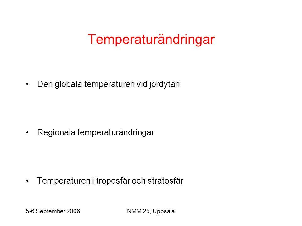 5-6 September 2006NMM 25, Uppsala Temperaturändringar •Den globala temperaturen vid jordytan •Regionala temperaturändringar •Temperaturen i troposfär
