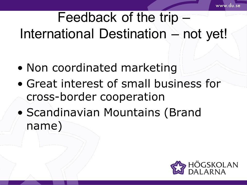 Feedback of the trip – International Destination – not yet.
