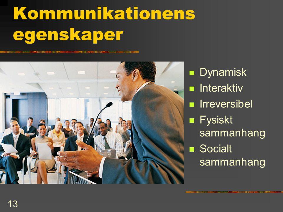13 Kommunikationens egenskaper  Dynamisk  Interaktiv  Irreversibel  Fysiskt sammanhang  Socialt sammanhang