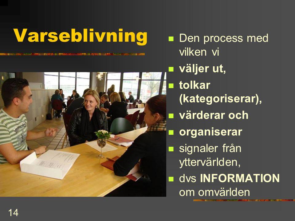 14 Varseblivning  Den process med vilken vi  väljer ut,  tolkar (kategoriserar),  värderar och  organiserar  signaler från yttervärlden,  dvs I