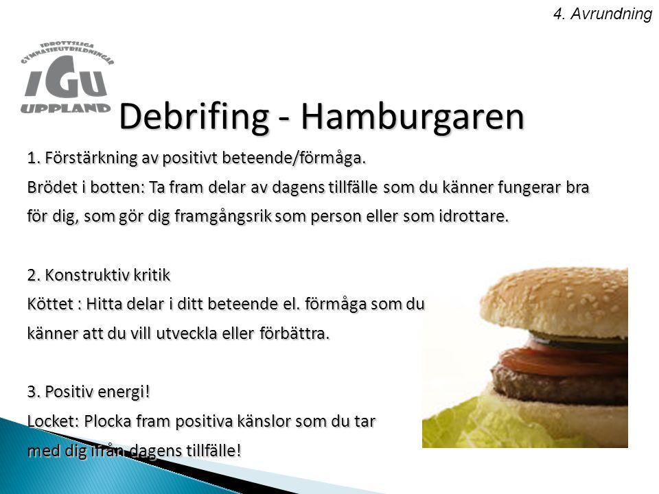 4.Avrundning Debrifing - Hamburgaren 1. Förstärkning av positivt beteende/förmåga.