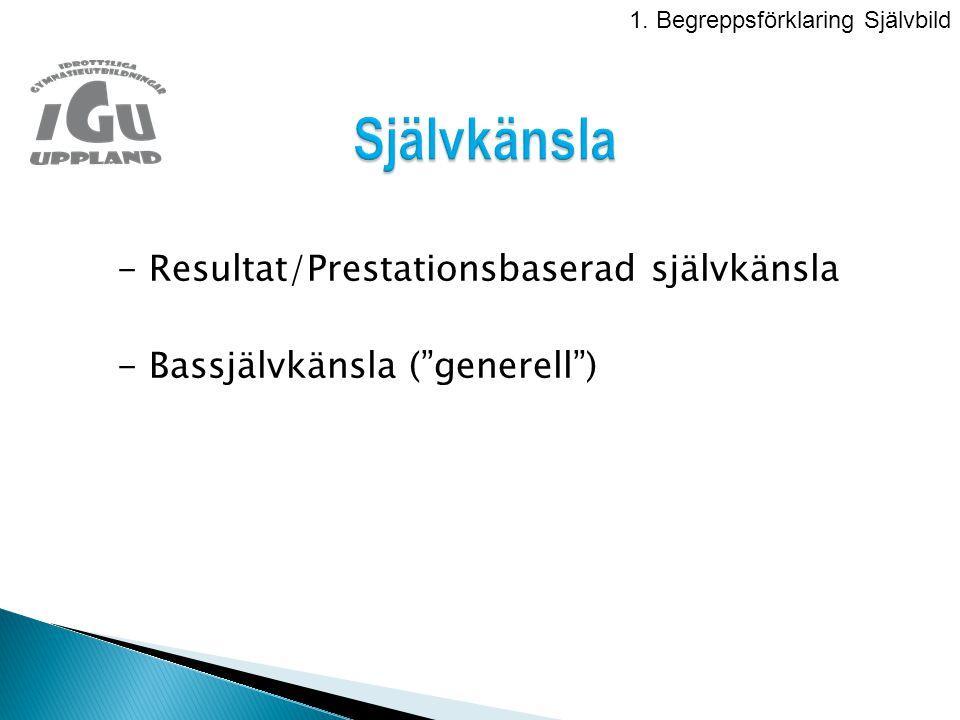 - Resultat/Prestationsbaserad självkänsla - Bassjälvkänsla ( generell ) 1.