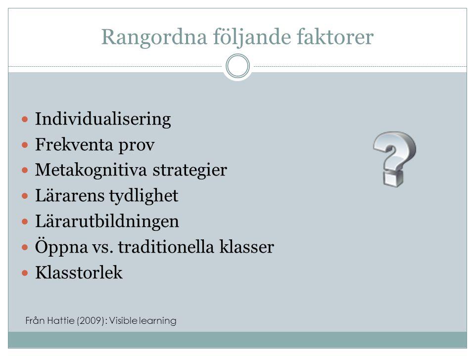 Rangordna följande faktorer  Lärarens tydlighet0.75  Metakognitiva strategier0.69  Frekventa prov0.34  Klasstorlek0.21  Individualisering0.20  Lärarutbildningen0.10  Öppna vs.