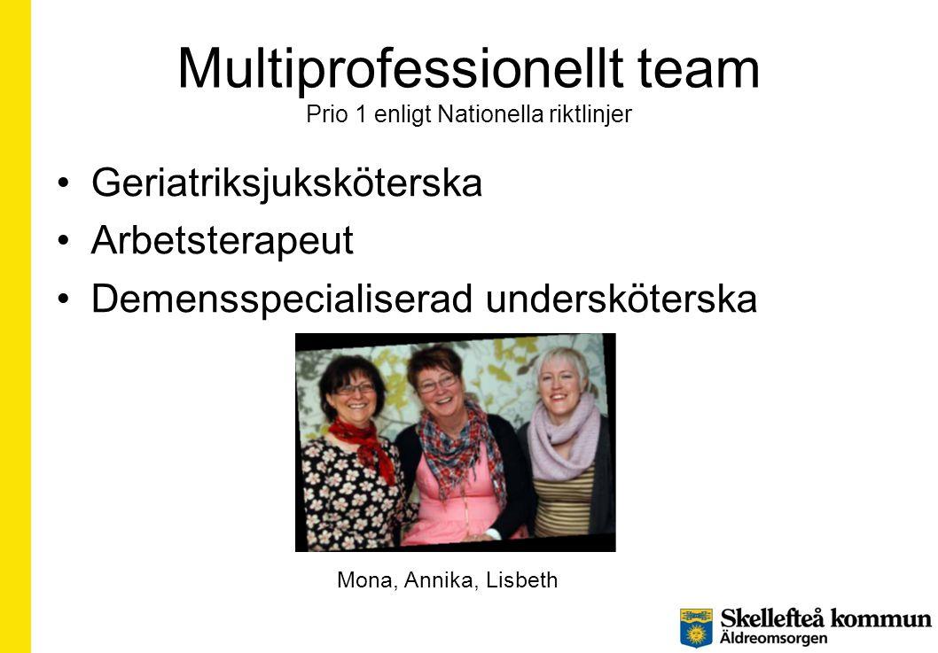 Multiprofessionellt team Prio 1 enligt Nationella riktlinjer •Geriatriksjuksköterska •Arbetsterapeut •Demensspecialiserad undersköterska Mona, Annika,