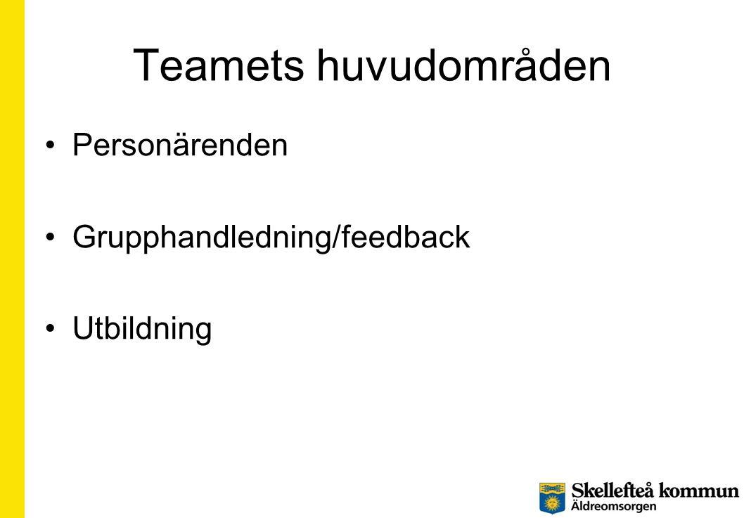 Teamets huvudområden •Personärenden •Grupphandledning/feedback •Utbildning