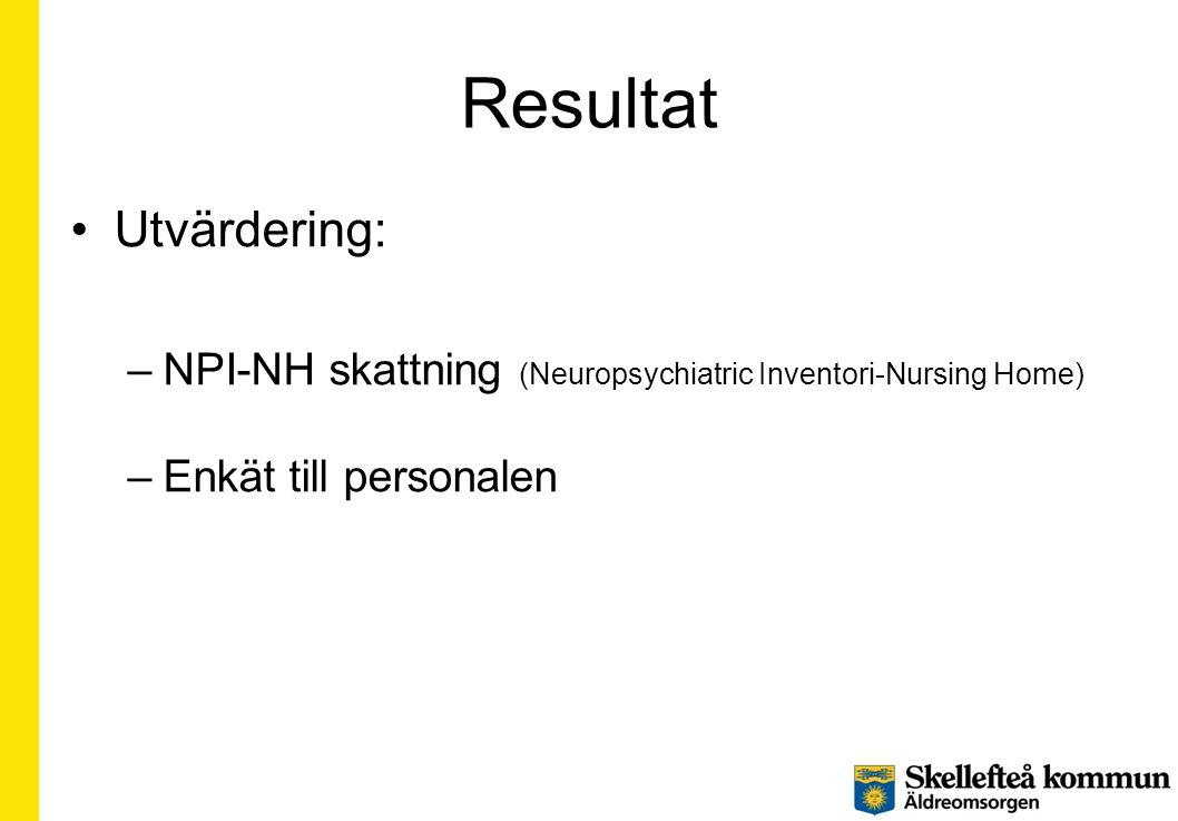 Resultat •Utvärdering: –NPI-NH skattning (Neuropsychiatric Inventori-Nursing Home) –Enkät till personalen