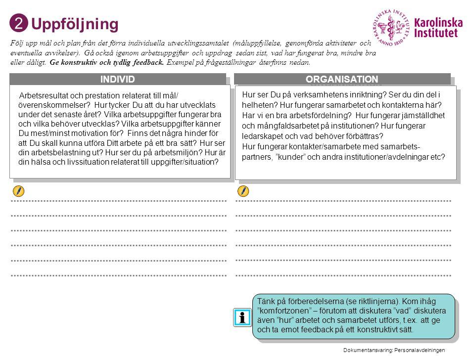 Dokumentansvarig, Personalavdelningen 3 ORGANISATION INDIVID Uppföljning Arbetsresultat och prestation relaterat till mål/ överenskommelser? Hur tycke