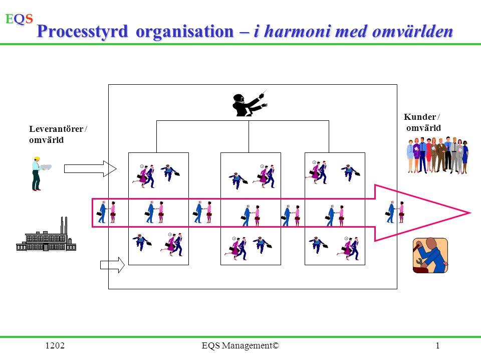 EQSEQSEQSEQS 1202EQS Management©2 Process En grupp av samverkande eller varandra påverkande aktiviteter som omformar insatser (input) till utfall (output) Aktivitet Insats Utfall Aktivitet