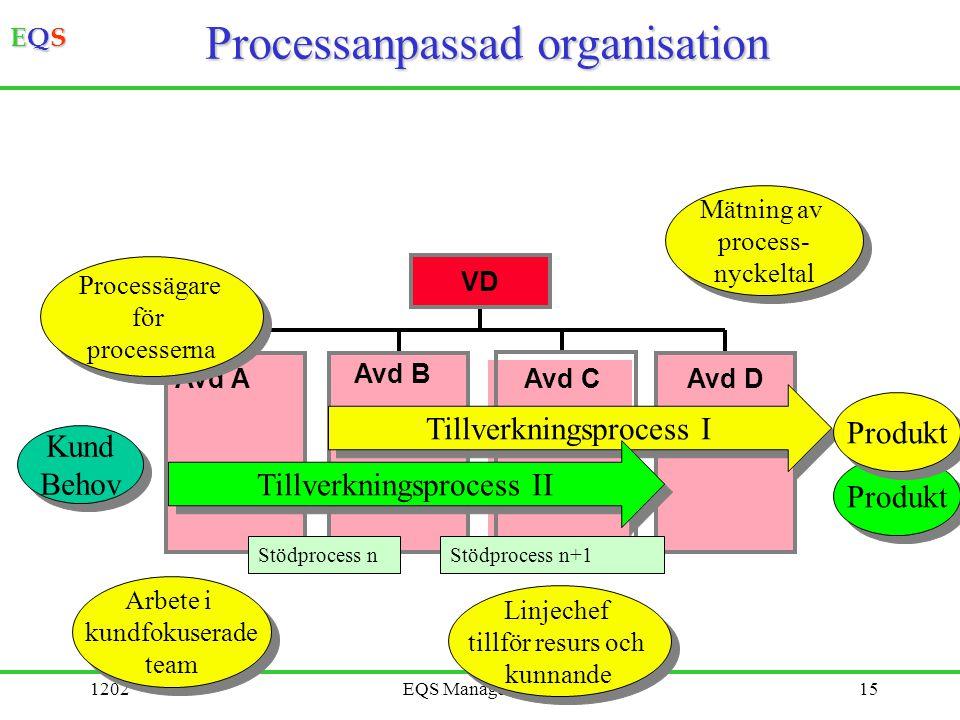 EQSEQSEQSEQS 1202EQS Management©15 Processanpassad organisation Avd AAvd BAvd CAvd D VD Produkt Kund Behov Kund Behov Tillverkningsprocess I Mätning a