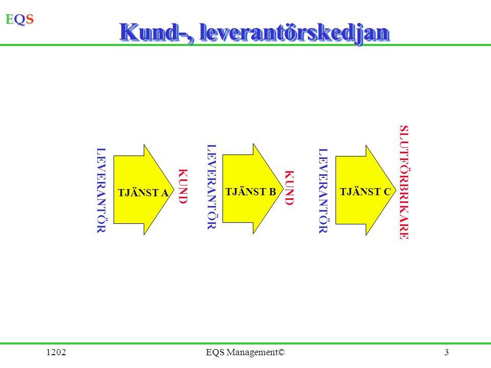 EQSEQSEQSEQS 1202EQS Management©4 Process, delprocesser, aktiviteter Planera FörbehandlaTillverka.Lager Övergripande processer Delprocesser Aktiviteter Kundbehov Kundtillfreds- ställelse