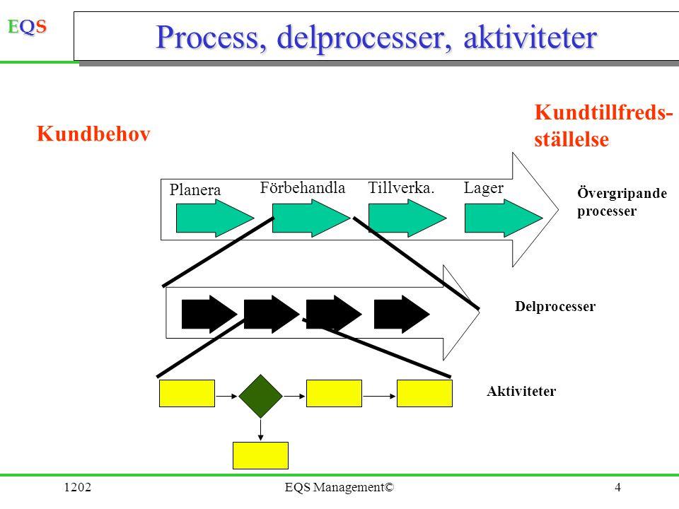 EQSEQSEQSEQS 1202EQS Management©4 Process, delprocesser, aktiviteter Planera FörbehandlaTillverka.Lager Övergripande processer Delprocesser Aktivitete