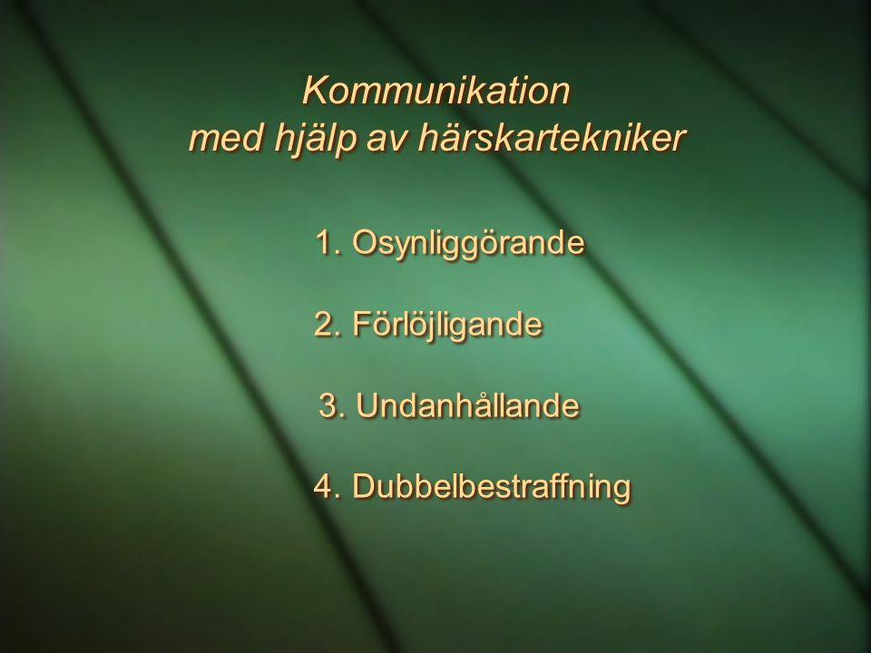 Kommunikation med hjälp av härskartekniker 1.Osynliggörande 2.