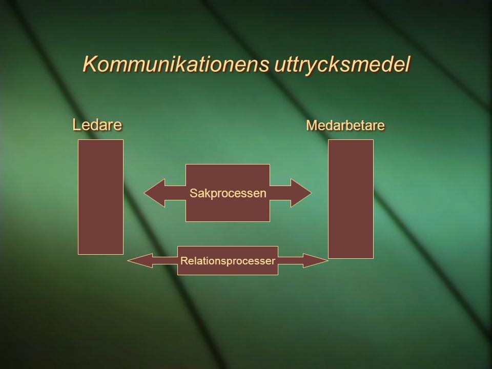 Kommunikationens uttrycksmedel Ledare Medarbetare Sakprocessen Relationsprocesser