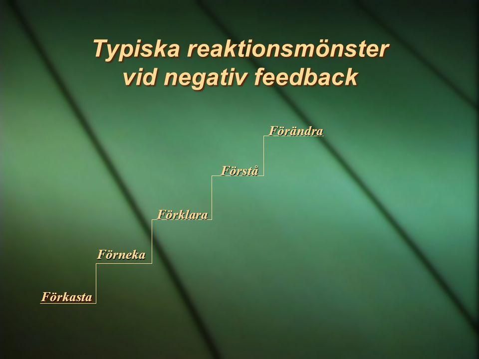 Typiska reaktionsmönster vid negativ feedback FörkastaFörkasta Förneka Förklara Förstå Förändra