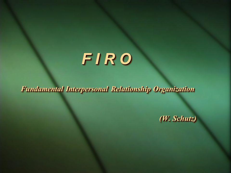 F I R O Fundamental Interpersonal Relationship Organization (W.