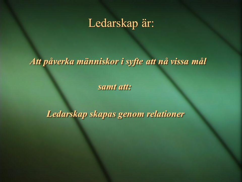 Ledarskap är: Att påverka människor i syfte att nå vissa mål samt att: Ledarskap skapas genom relationer Att påverka människor i syfte att nå vissa mål samt att: Ledarskap skapas genom relationer