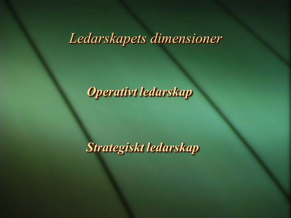 Ledarskapets dimensioner Operativt ledarskap Feedback, utvecklingssamtal, Feedback, utvecklingssamtal, Målstyrning och belöningssystem.